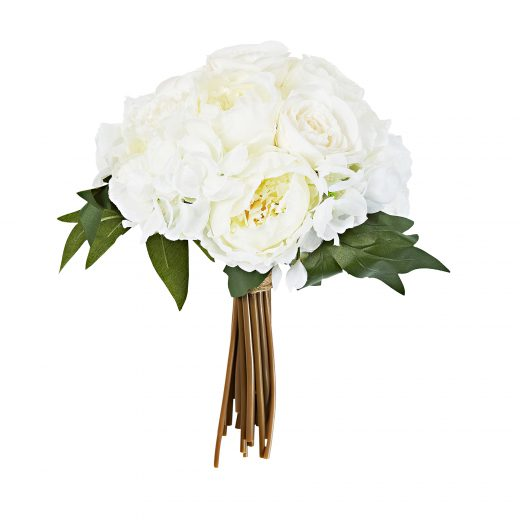 Faux Flowers - White Rose Bunch 1