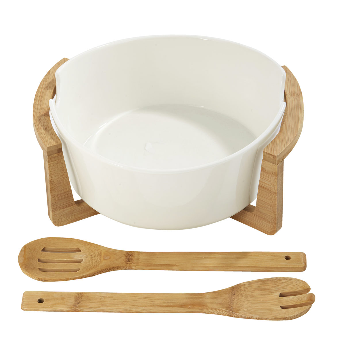 White Ceramic Salad Bowl on Wooden Stand 2