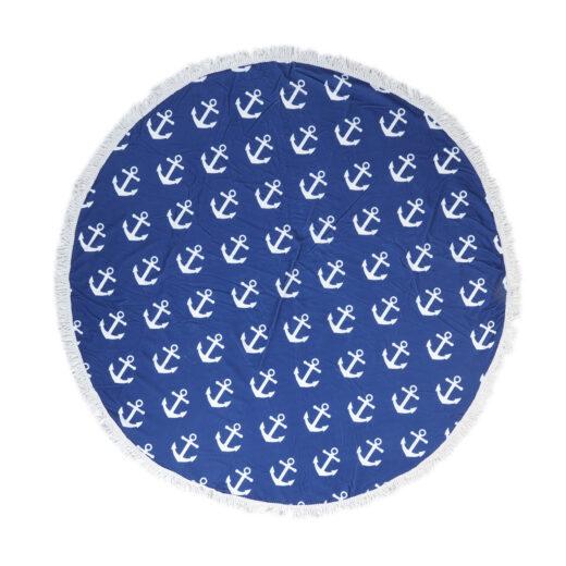 Microfibre Round Printed Towel with Tassles 4