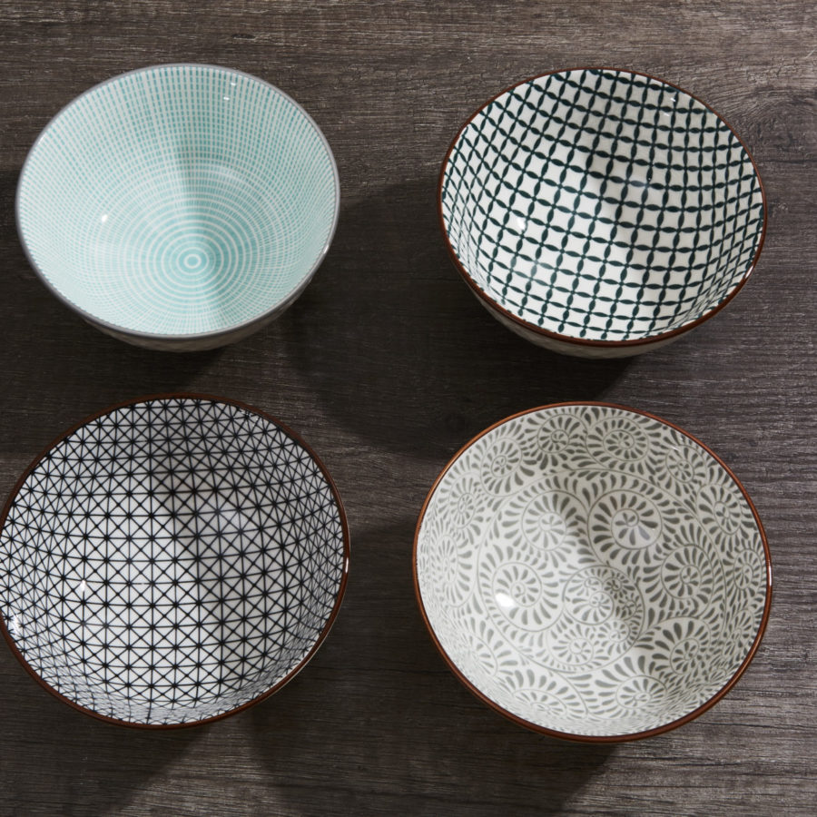 Grey & Turquoise Bowl Set 1
