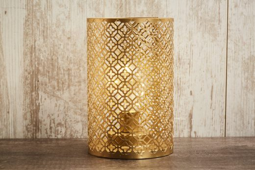 Gold Cut Out Lantern with LED Light 1