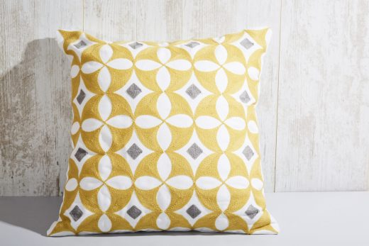 Yellow Geometric Crewel Scatter Cover 1