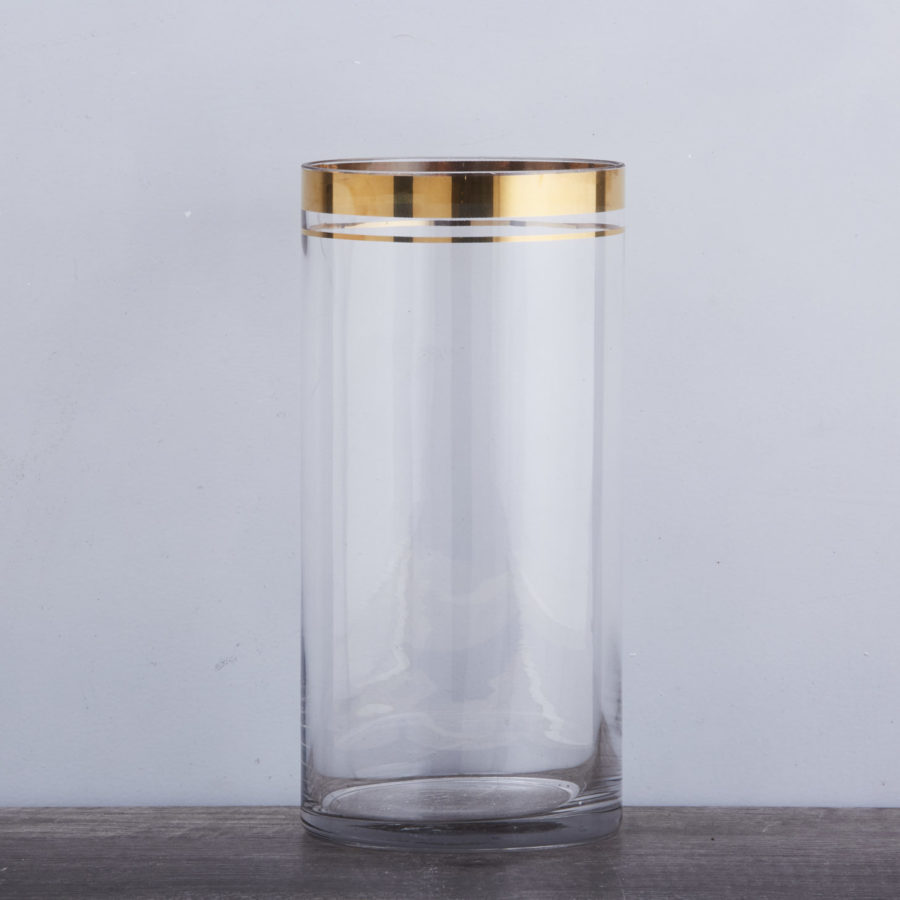 Glass Vase with Gold Rim 1