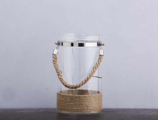 Glass Lantern with Rope Detail 1
