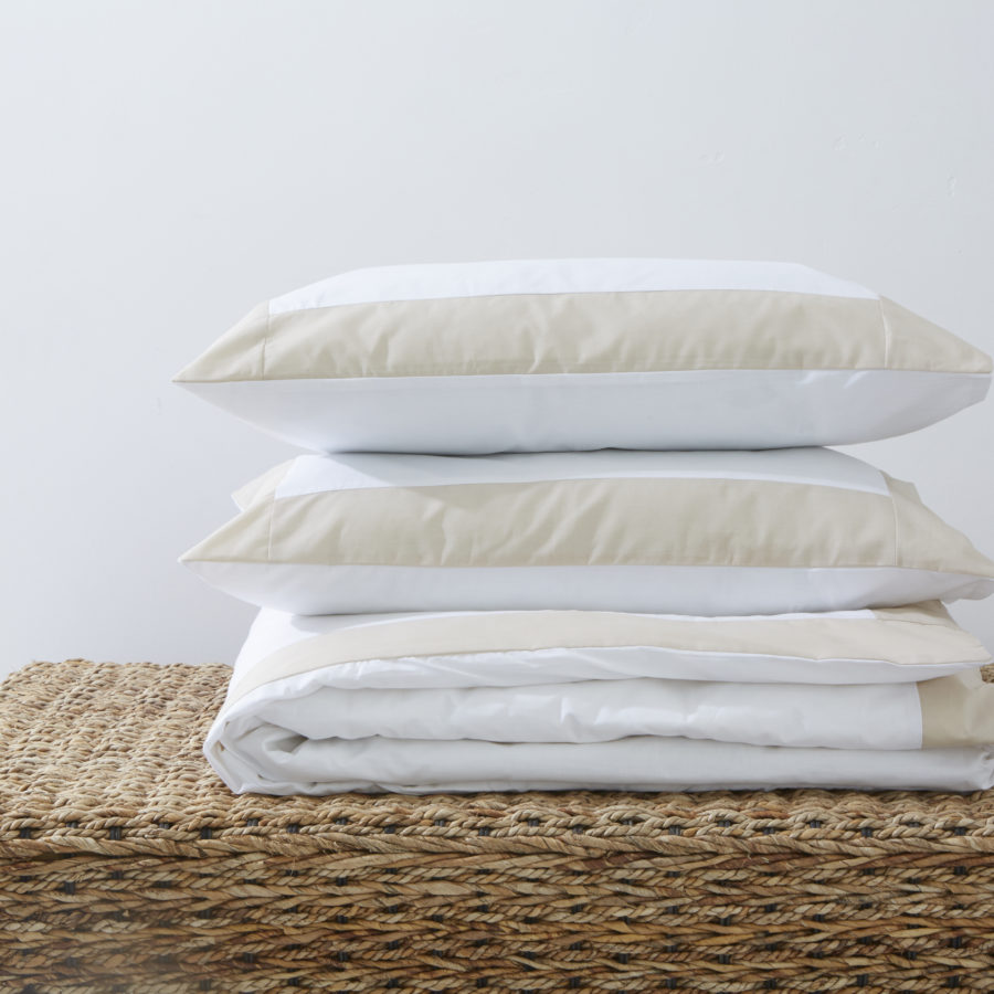 200 Thread Count Polycotton Duvet Cover with Colour Border Stone 1