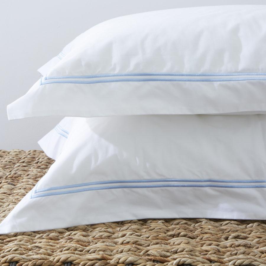 200 Thread Count 100% Cotton Oxford Twin Row Satin Stitch Pillowcase Set Blue 1