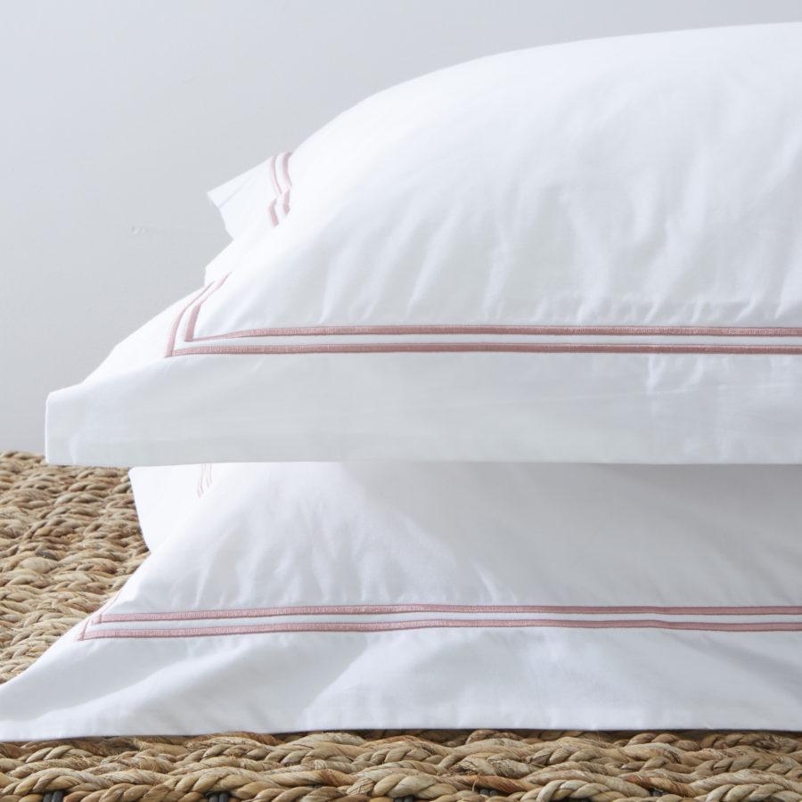 200 Thread Count 100% Cotton Oxford Twin Row Satin Stitch Pillowcase Set Pink 1