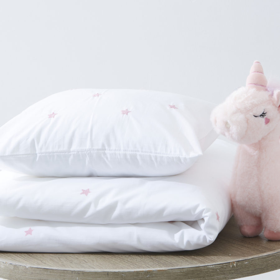 200 Thread Count 100% Cotton Star Embroidered Duvet Cover Set Pink 1