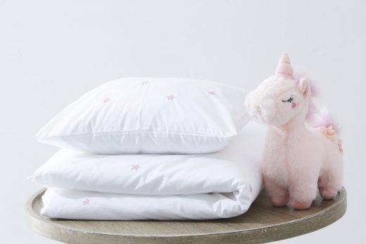 100% Cotton Star Embroidered Duvet Cover Set Pink 1