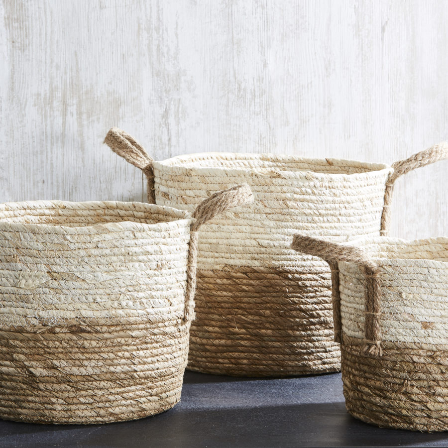 2 Tone Natural Basket with Handles 1