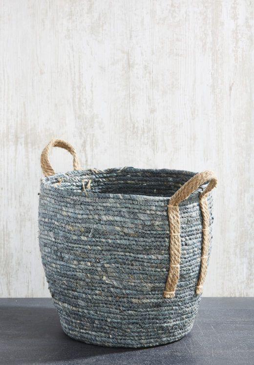 Denim Basket with Handles 2