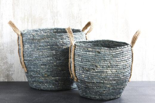 Denim Basket with Handles 1