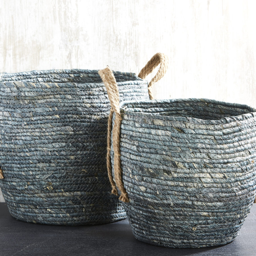 Denim Basket with Handles 1